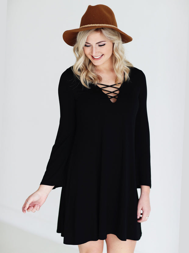 Black DLMN Lace Up Dress