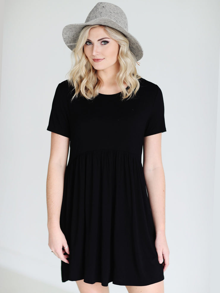 Black DLMN Babydoll Dress
