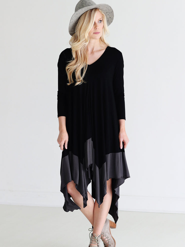 Black DLMN Draped Color Block Dress