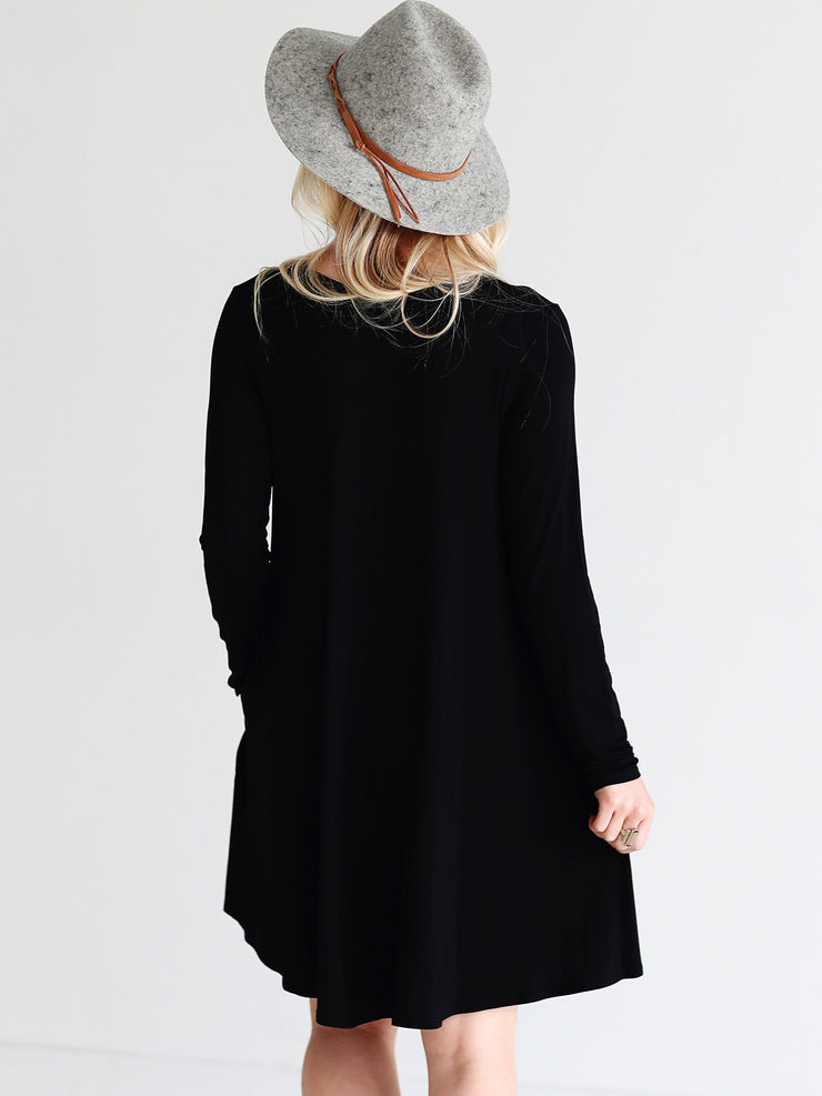 Black DLMN Pocket Swing Dress
