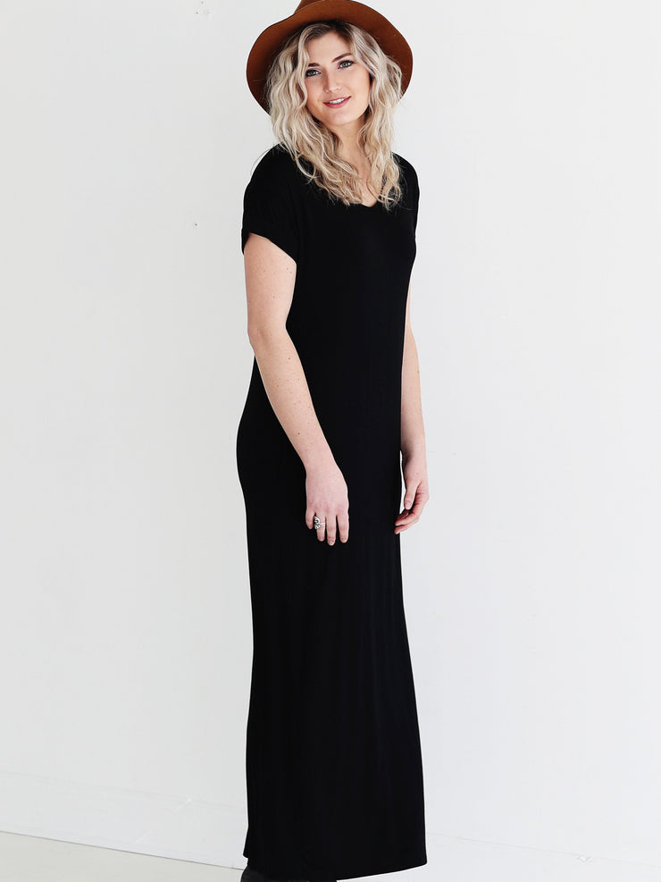 Black DLMN Straight Cut Maxi Dress