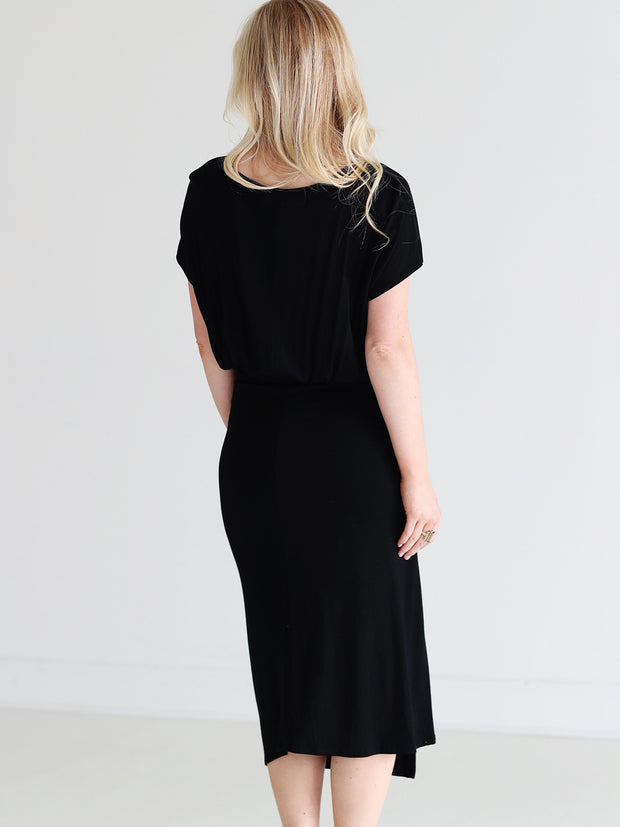 Black DLMN Ruched Side Midi Dress