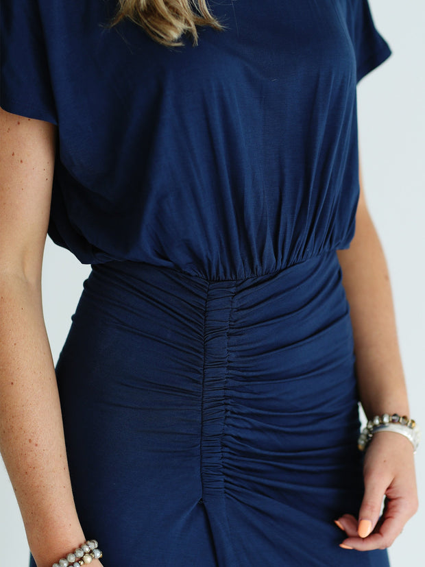 Navy DLMN Ruched Side Midi Dress