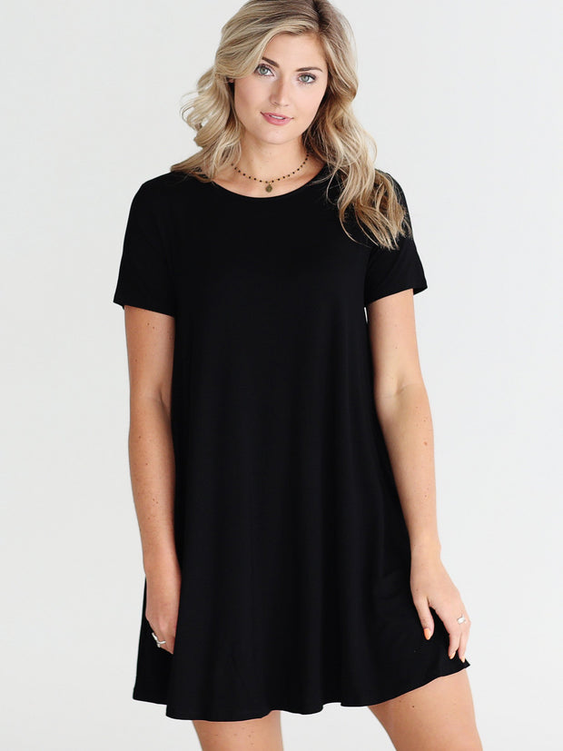 Black DLMN Short Sleeve Pocket Swing Dress