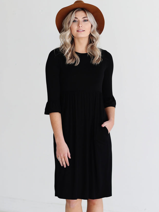 Black DLMN Trumpet Sleeve Dress