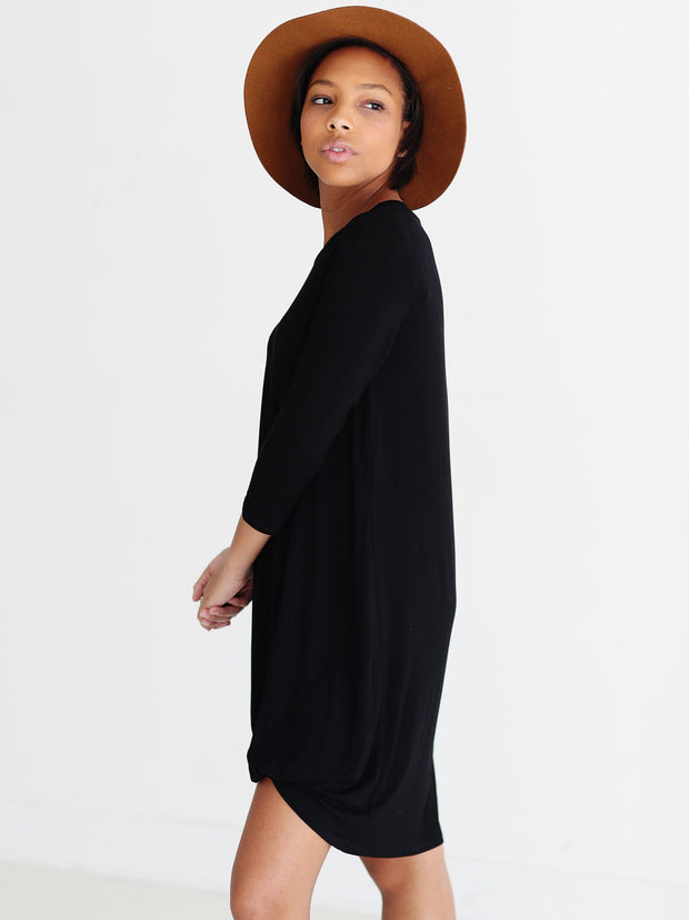 Black DLMN Side Knot 3/4 Sleeve Dress