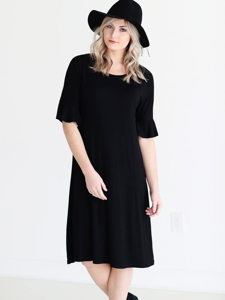 Black DLMN Cropped Bell Sleeve Midi Dress