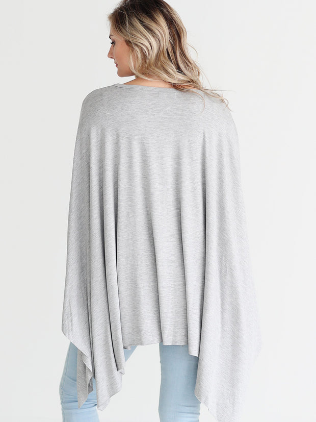 Heather Gray DLMN Handkerchief Poncho Top