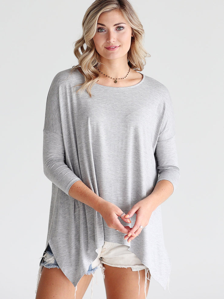 Heather Gray DLMN Handkerchief Top
