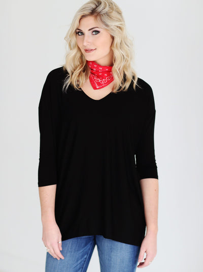 Black DLMN V-Neck 3/4 Sleeve Tunic