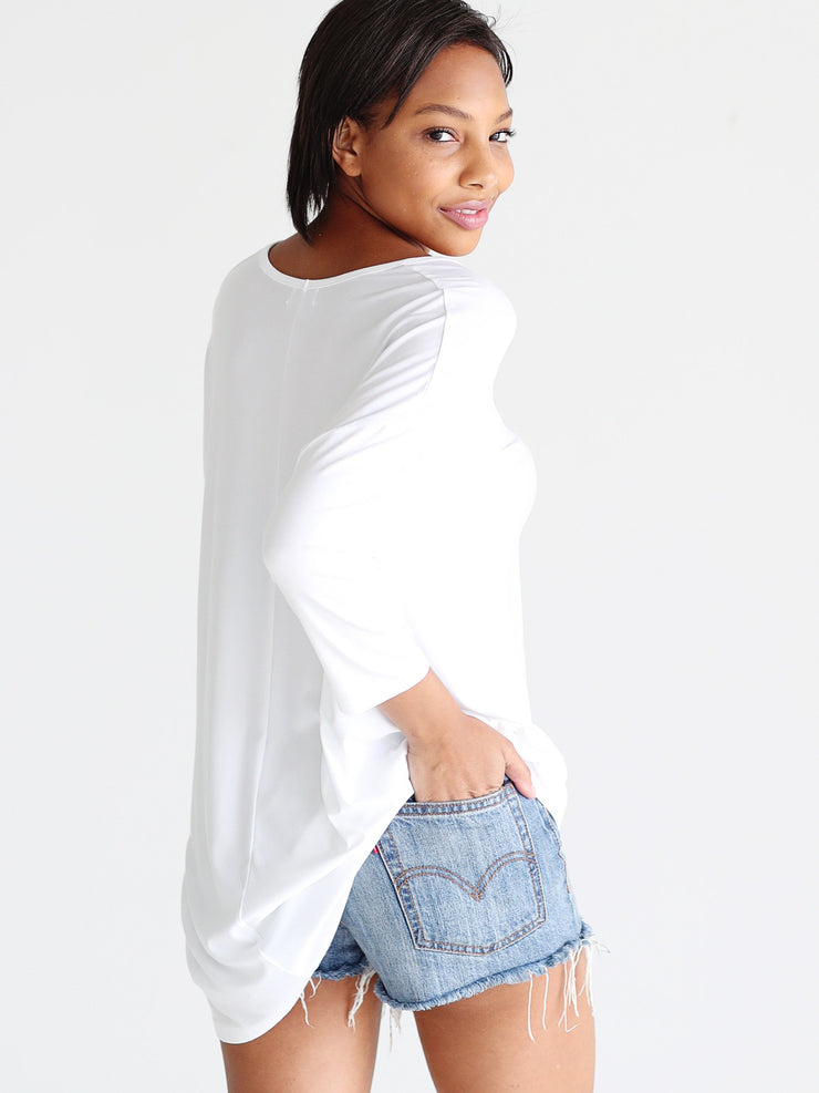 White DLMN V-Neck 3/4 Sleeve Tunic