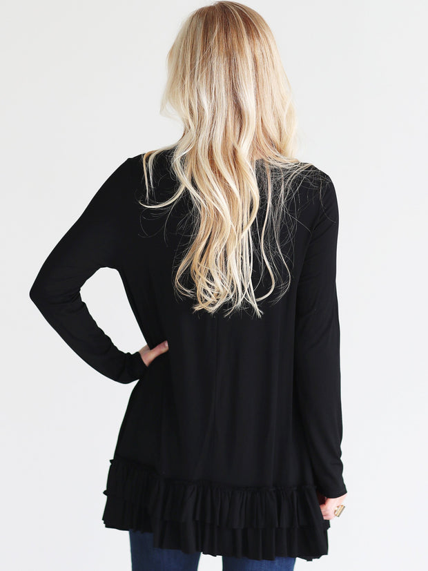 Black DLMN Double Ruffle Tunic