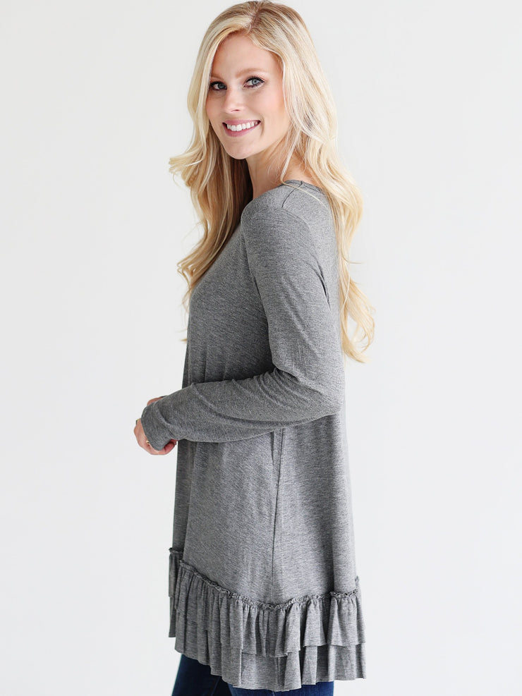 Dark Heather Gray DLMN Double Ruffle Tunic