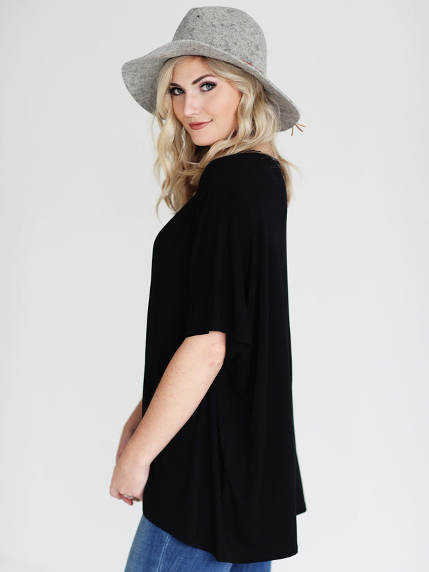 Black DLMN Slouchy Oversized Top