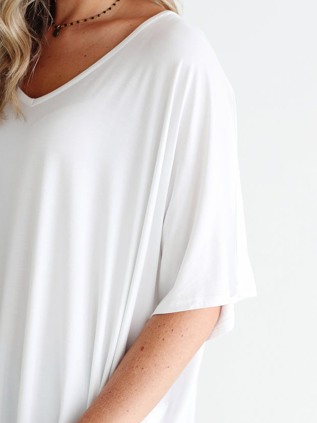 White DLMN Slouchy Oversized Top