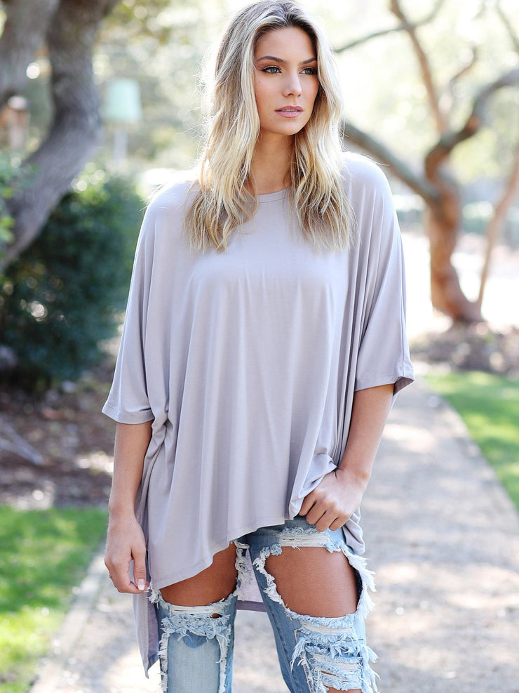 Dove Gray Dolman Sleeve