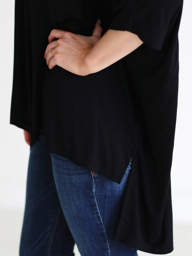 Black DLMN Dolman Sleeve High-Low Top
