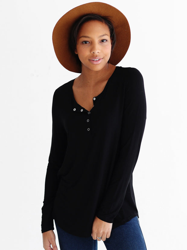 Black DLMN Long Sleeve Henley Top