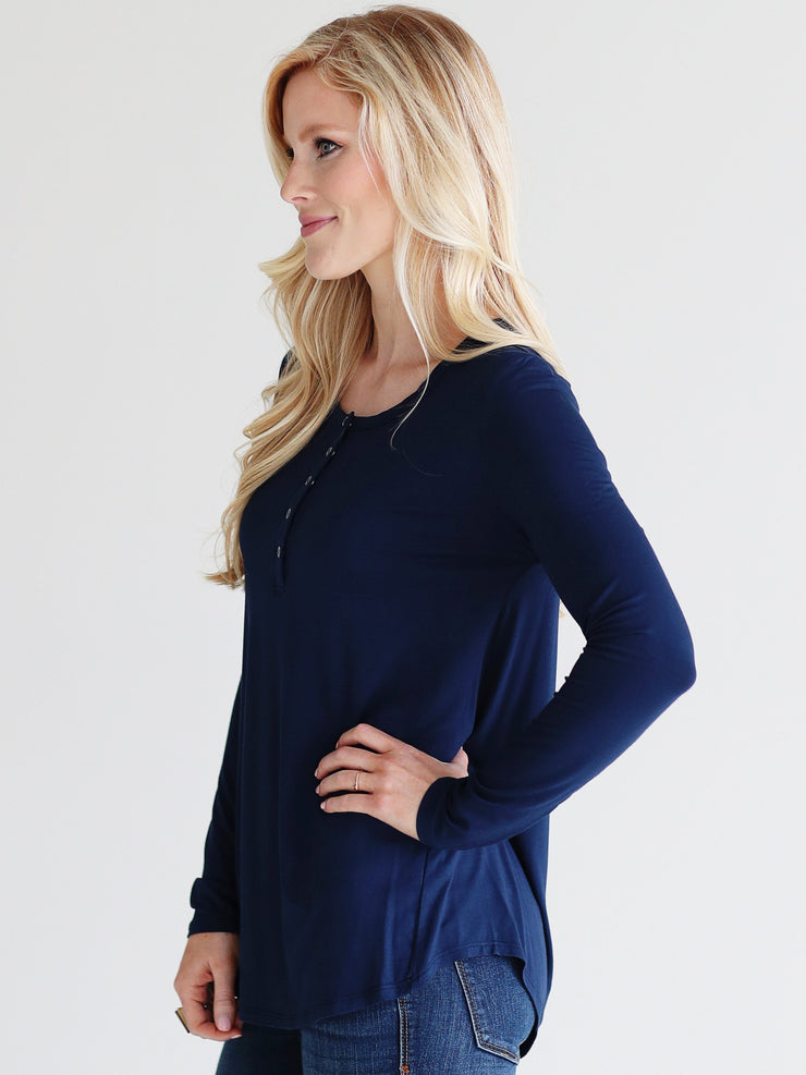 Navy DLMN Long Sleeve Henley Top