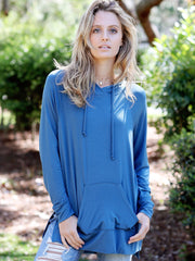 Midnight Teal DLMN Lightweight Side-Slit Hoodie Sweatshirt