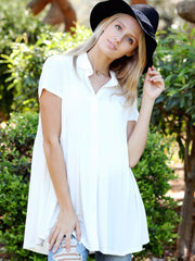 Ivory DLMN Button Up Babydoll Top