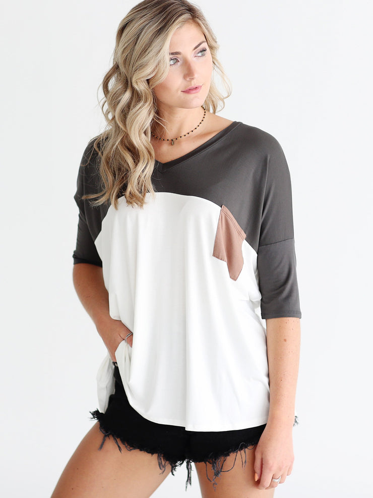 Ivory DLMN Color Block Pocket Tee