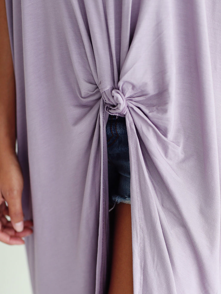 Light Purple DLMN Knotted High-Low Top