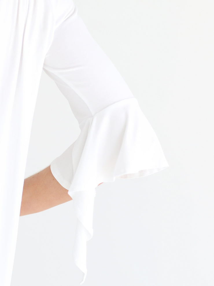 White DLMN Off-The-Shoulder Draped Sleeve Top