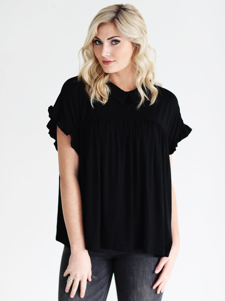 Black DLMN Collared Ruffle Sleeve Babydoll Top