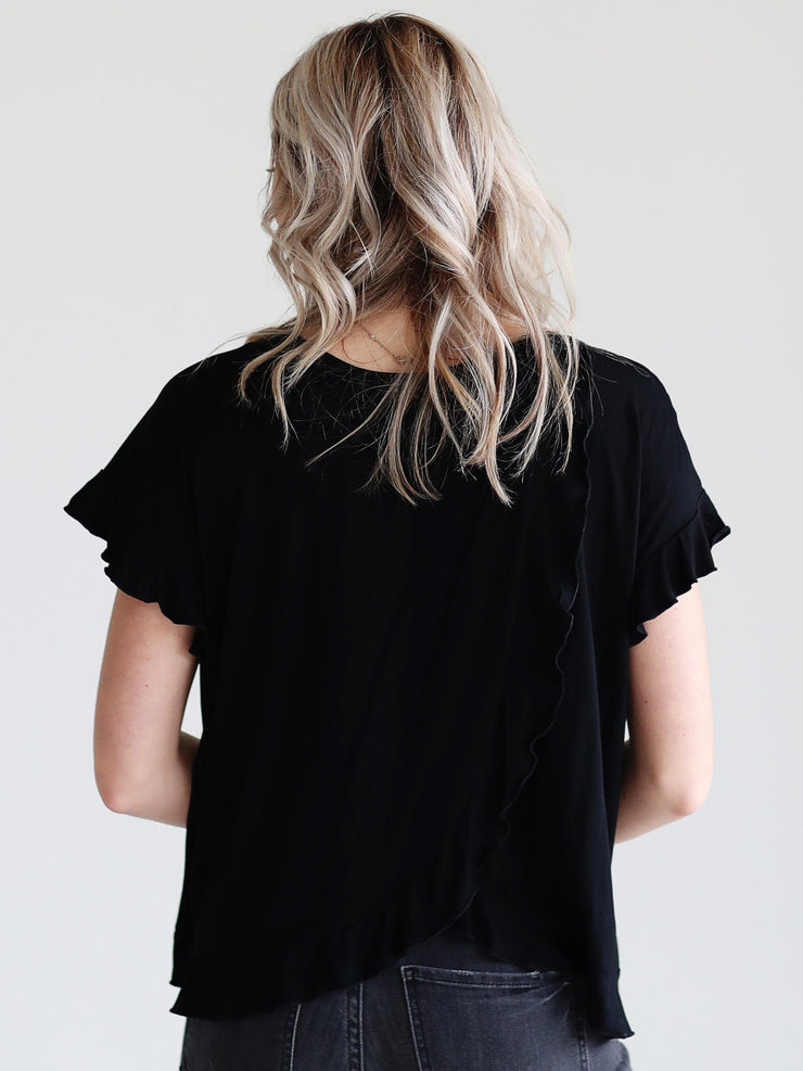 Black DLMN Tulip Back Ruffle Top