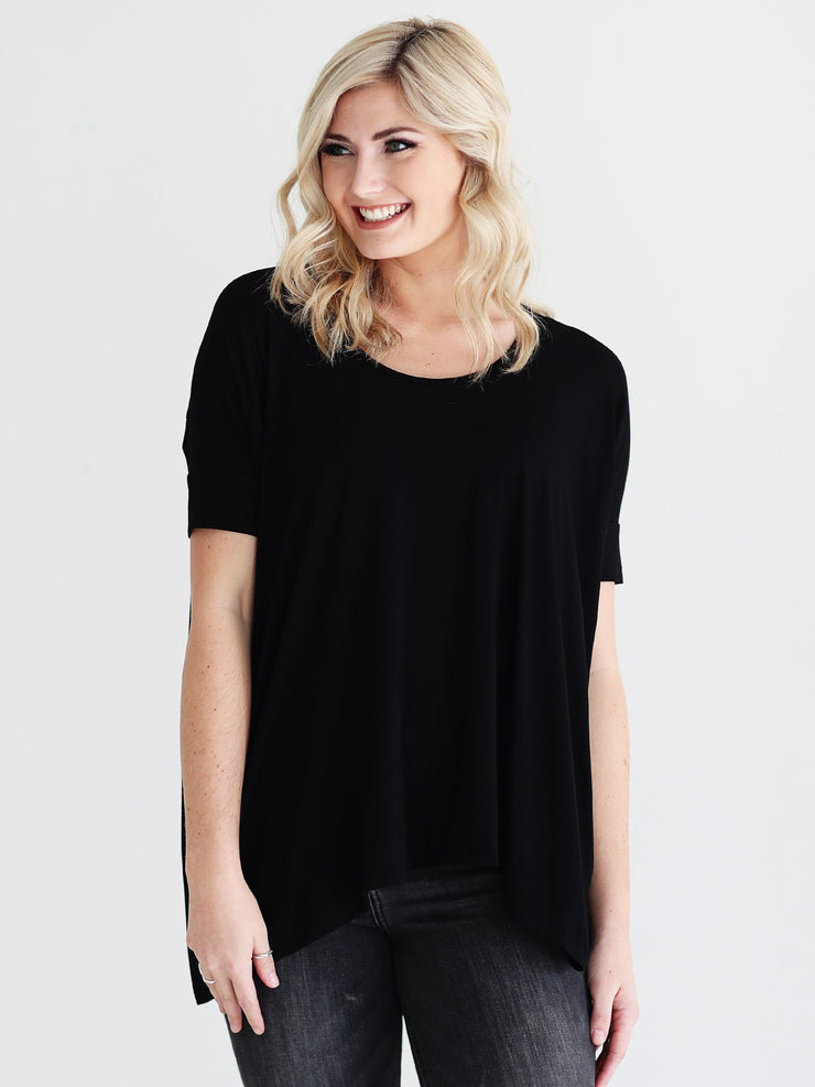 Black DLMN Short Sleeve High-Low Tee