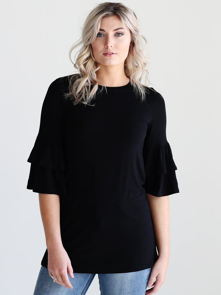 Black DLMN Double Ruffle Sleeve Top