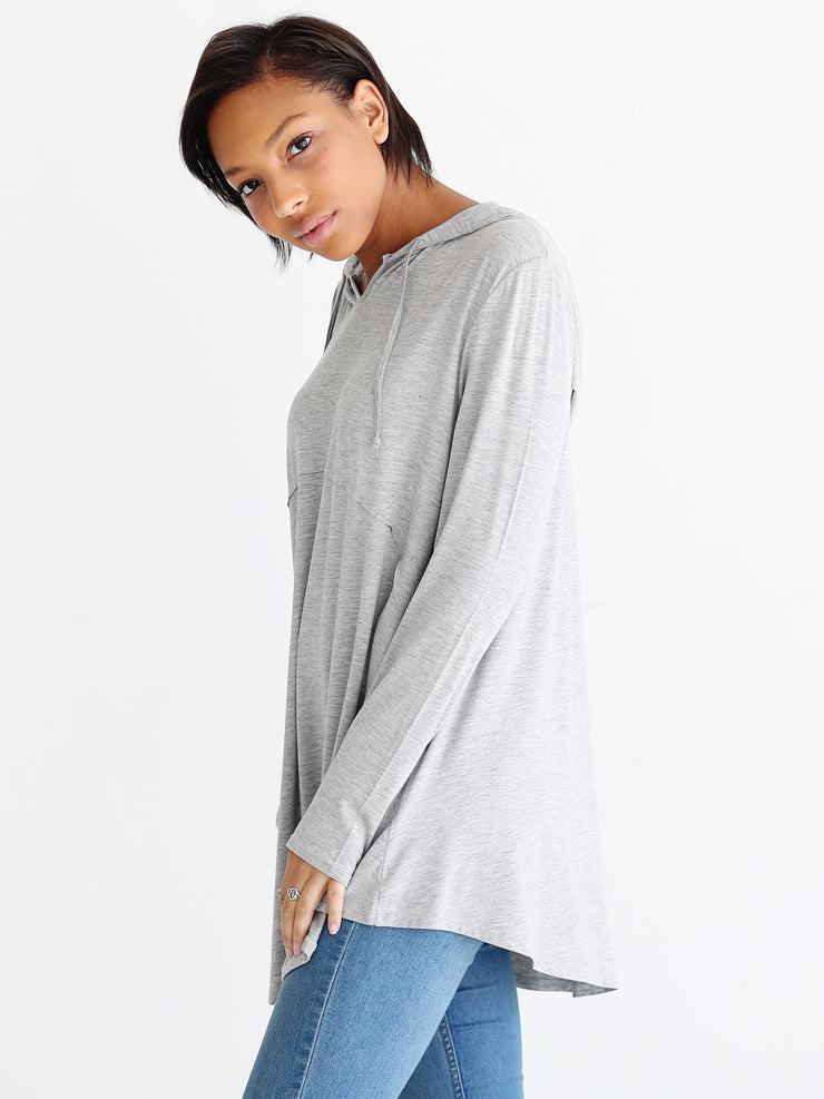 Heather Gray DLMN Oversized Swing Hoodie Top