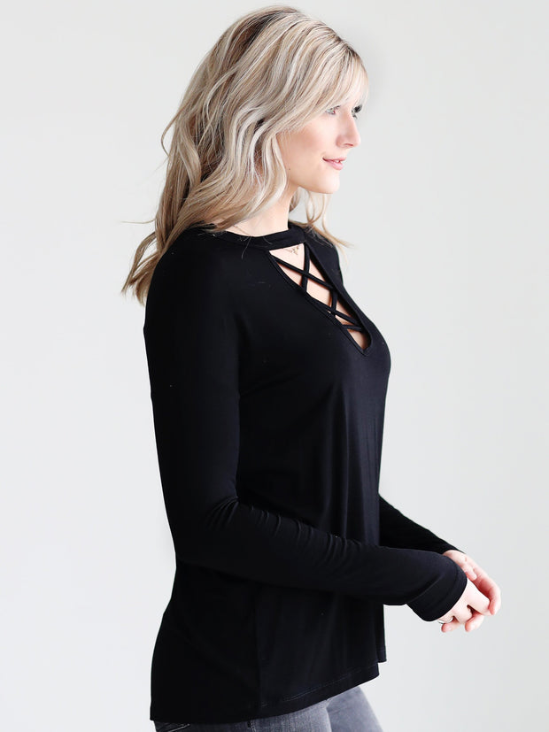 Black DLMN Long Sleeve Strappy Neck Top