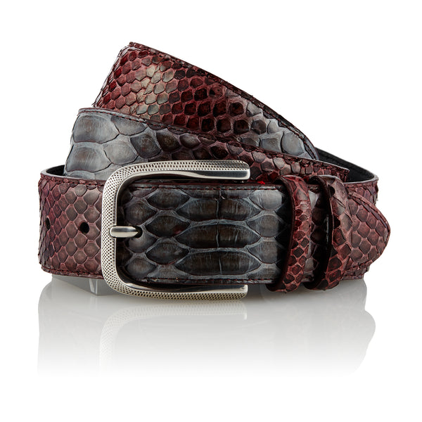 Bazigar - Handcrafted Snake Leather Belt / Bordeaux