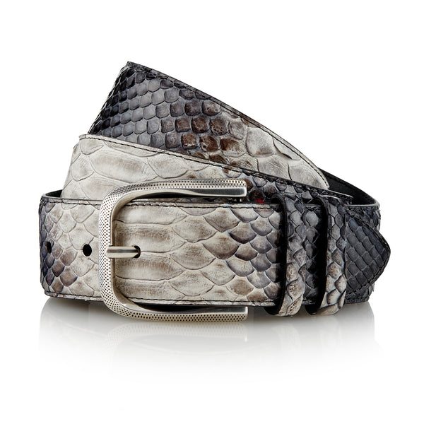 Bazigar - Handcrafted Snake Leather Belt / Grey
