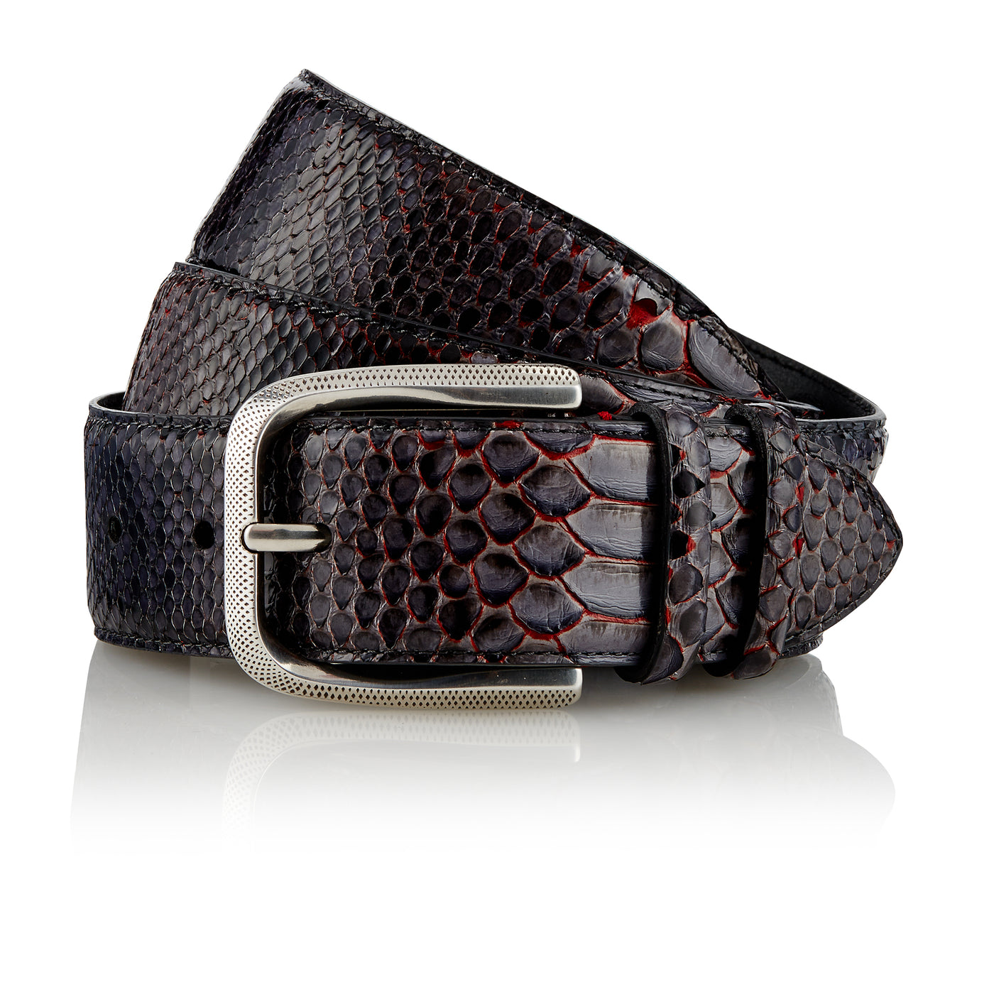 Bazigar - Handcrafted Snake Leather Belt / Grey Red