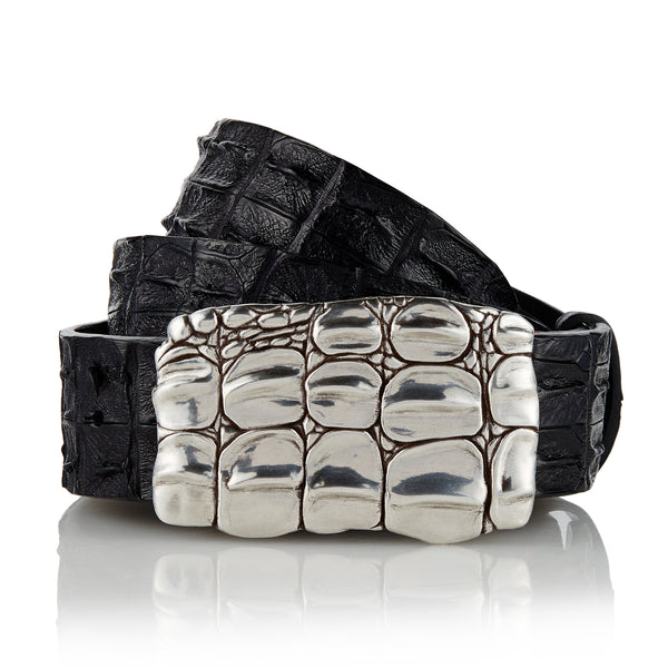 Jarrakan - Handcrafted Italian Crocodile Belt / Black