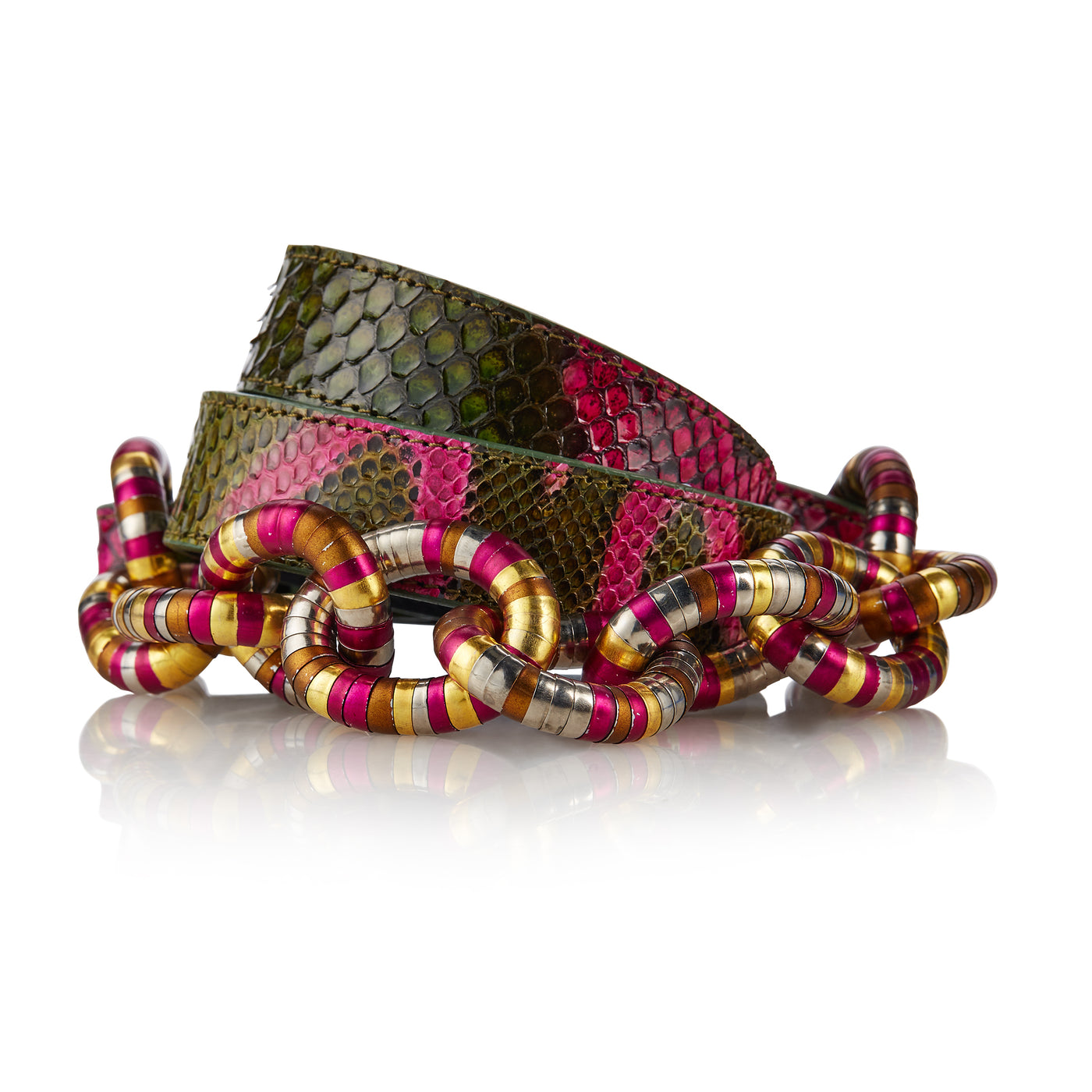 Piraha - Handcrafted Snake Leather Belt / Green Pink