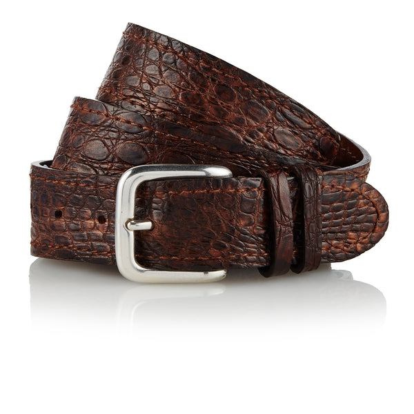 Yolngu - Handcrafted Italian Crocodile Belt / Brown