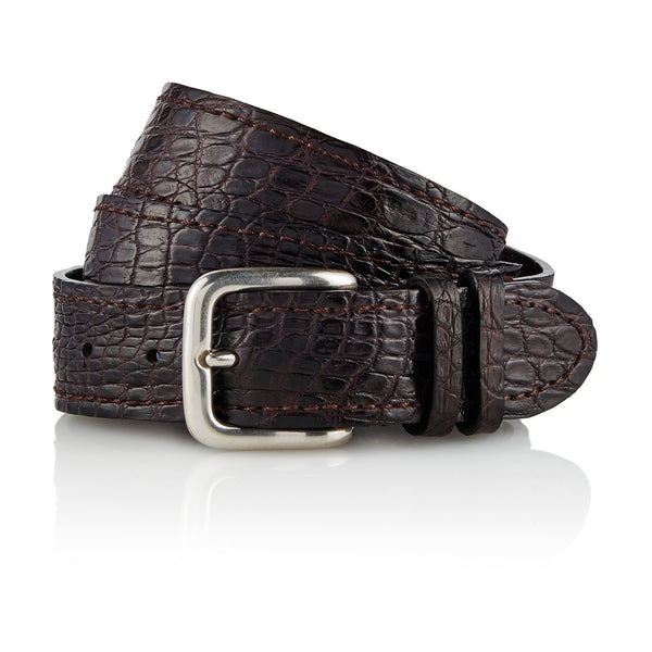 YOLNGU - Handcrafted Italian Crocodile Belt / Dark Brown