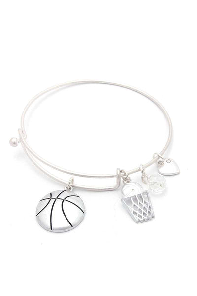Basketball Charms Inspirational Bangle Bracelet