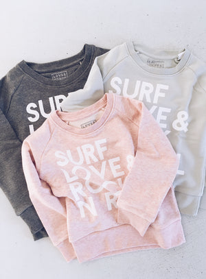 Surf, Love & Rock n Roll Sweat - Shell Pink