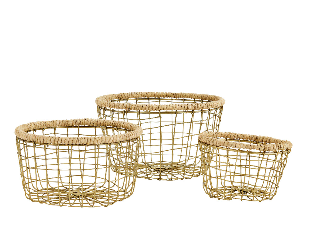 Jute Round Wire Baskets - Set of three