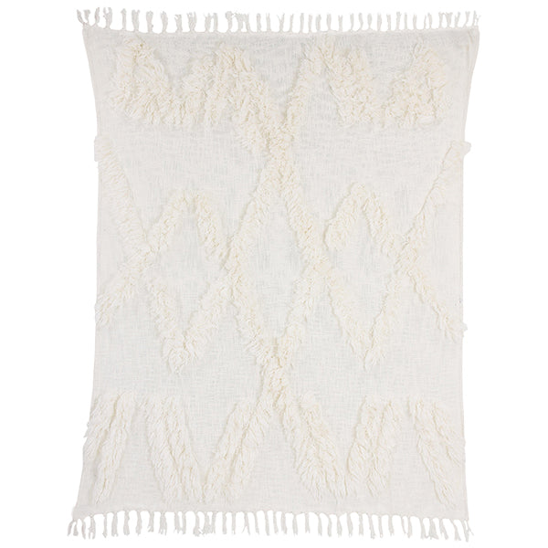 White fringe throw