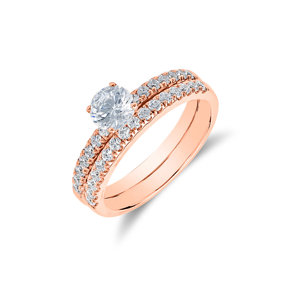 'Zoe' - Accented Engagement Ring & Wedding Band Set