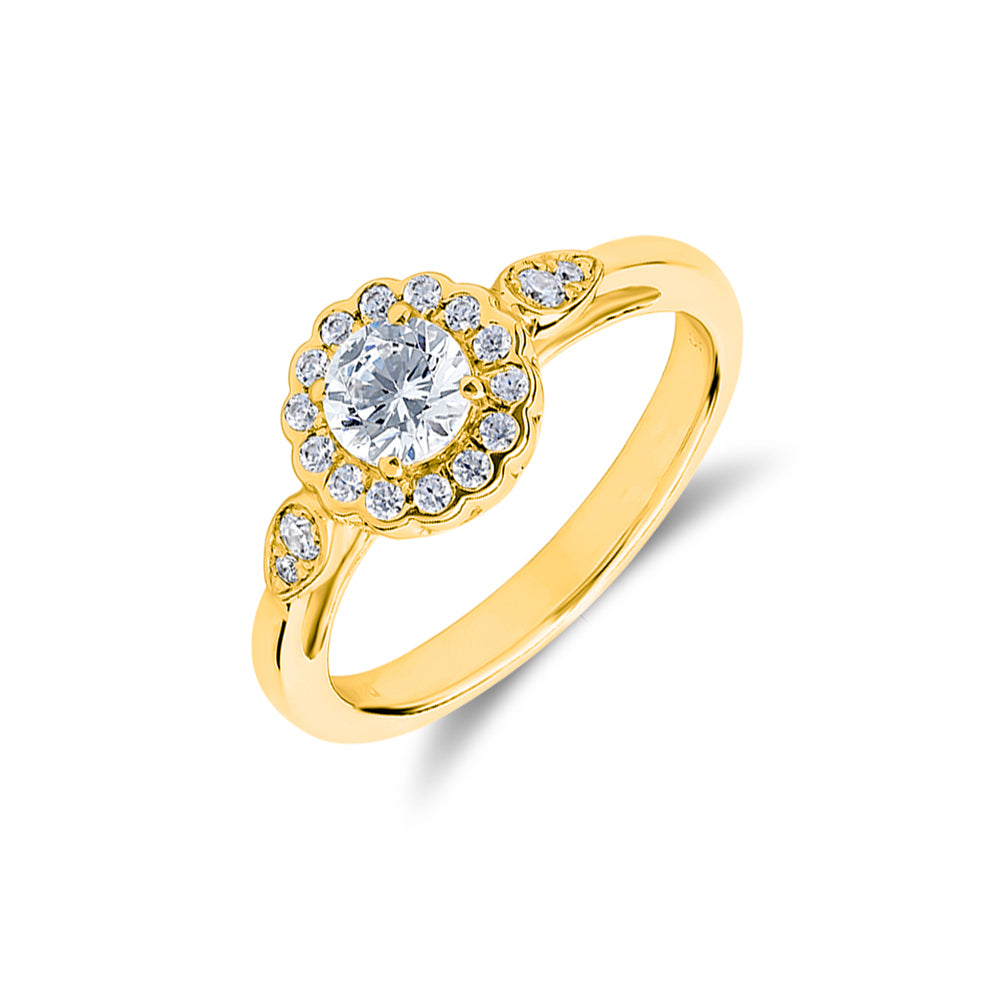 'Fleur' - Diamond Flower-Halo Ring