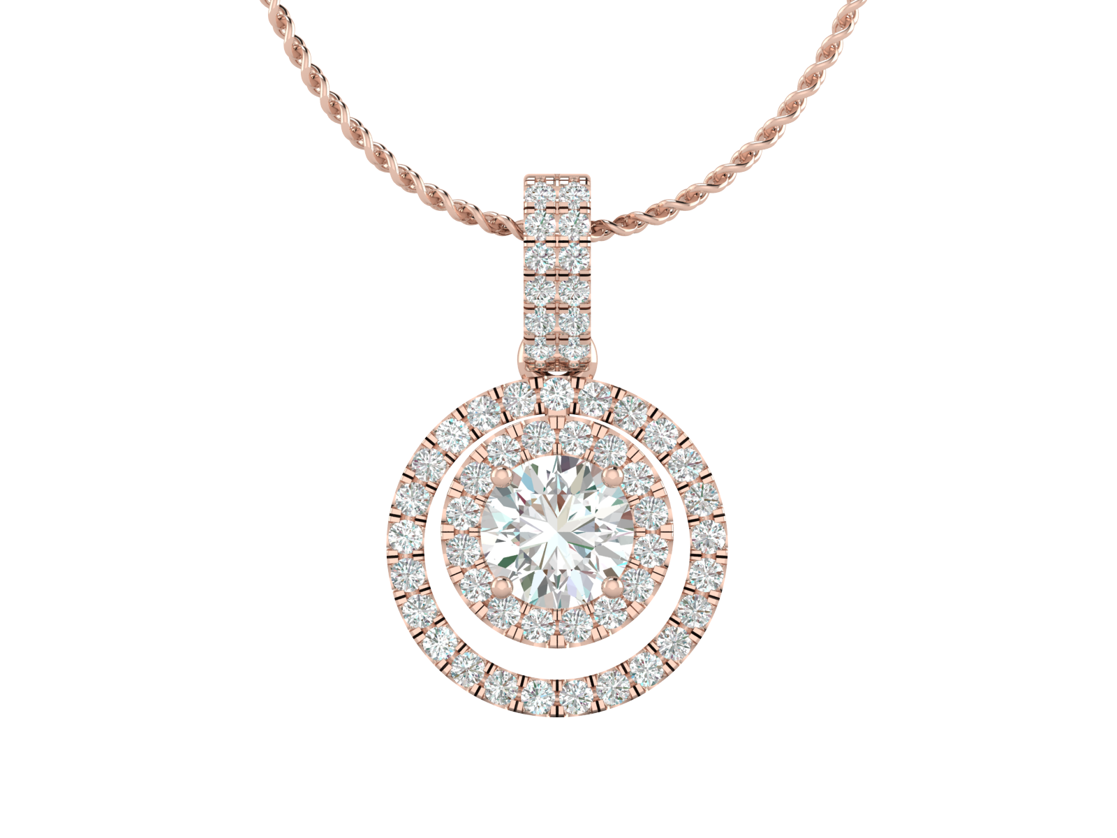 'Duplo' - Diamond Double Halo Pendant