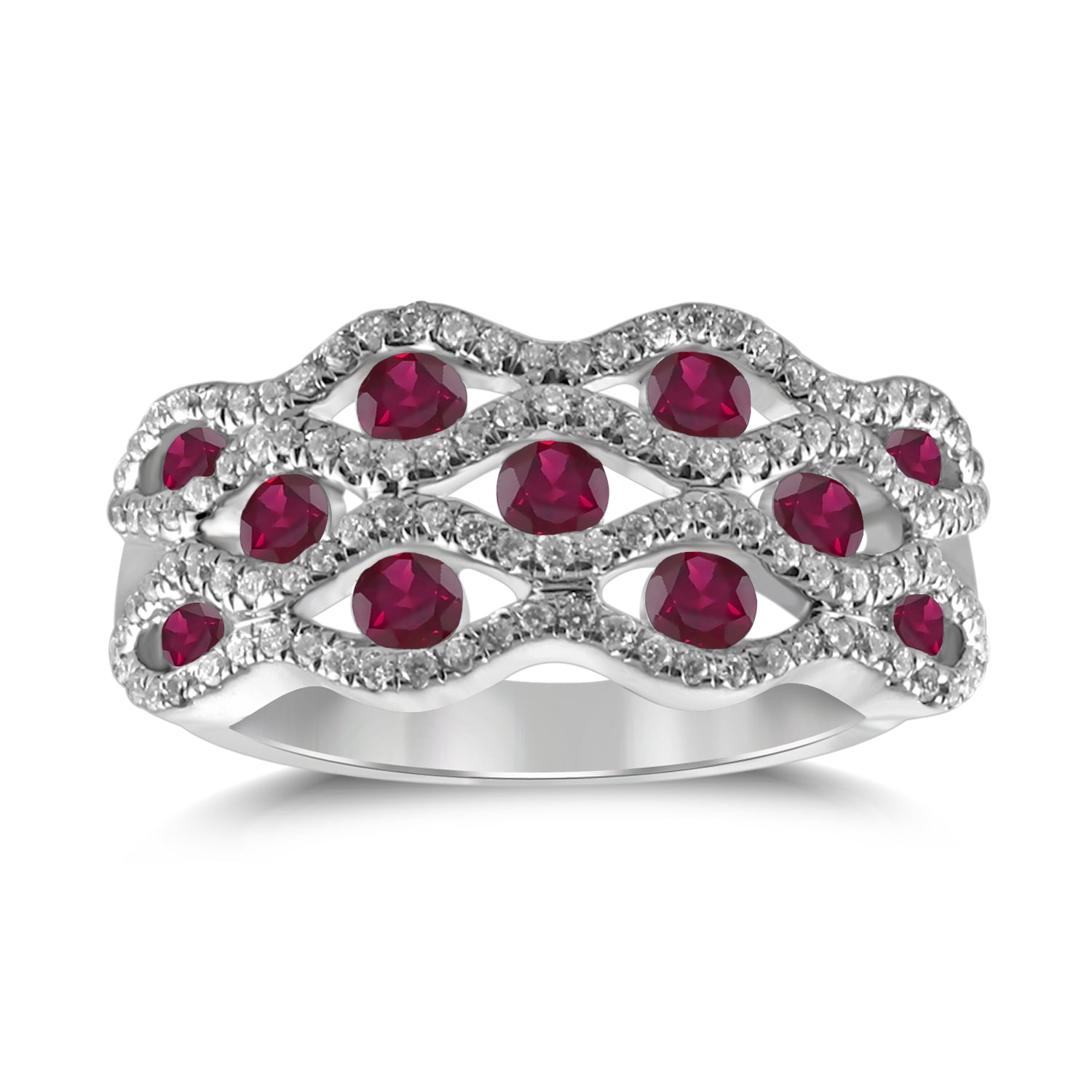Gemma - Dome Top Diamond & Gemstone Band - Certified