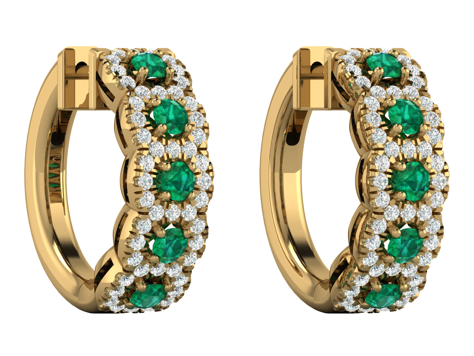 Perlas - 5 Halo Diamond & Gemstone Hoops
